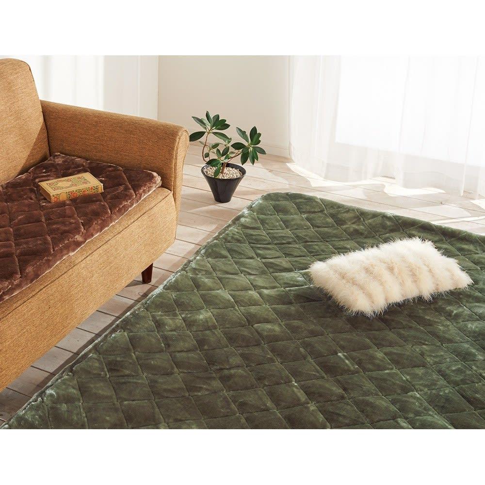 ゆめごこちラグ 洗い替え用カバー単品 (エ)グリーン ※写真は約190×240cmタイプです。