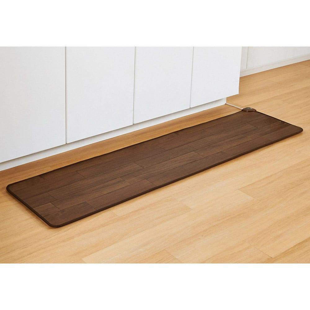 カーテン 敷物 ソファカバー カーペット ラグ マット キッチンマット 約45×240cm(ホットキッチンマット 木目柄) 529017
