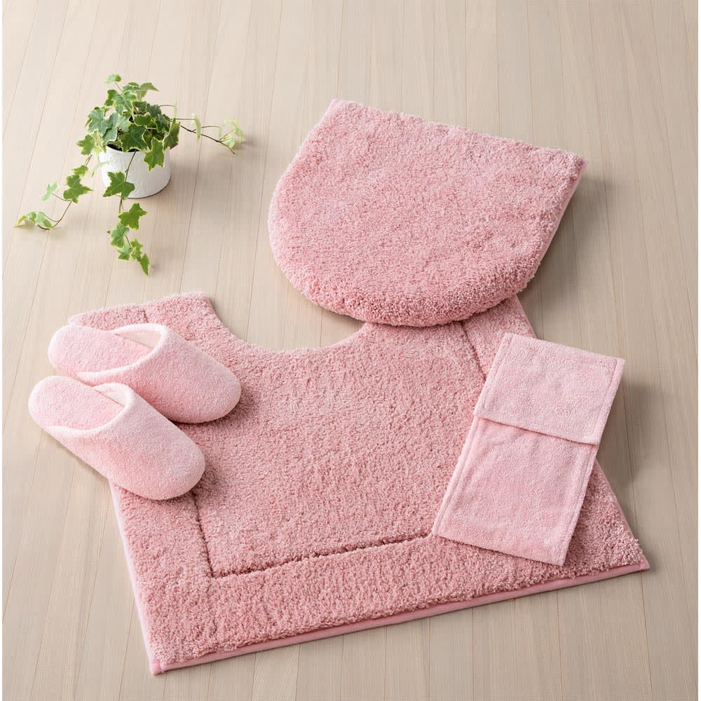 ウチノもこふわトイレタリー フタカバー・マットセット (オ)ピンク(写真は普通判マット)