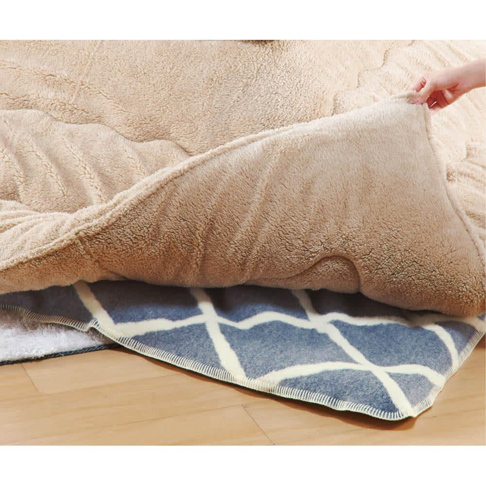 ウール・コットン「ジオメトリック」 こたつ掛け毛布シリーズ こたつ掛け毛布 (イ)ブルー(裏面) 中掛けとして使っても。