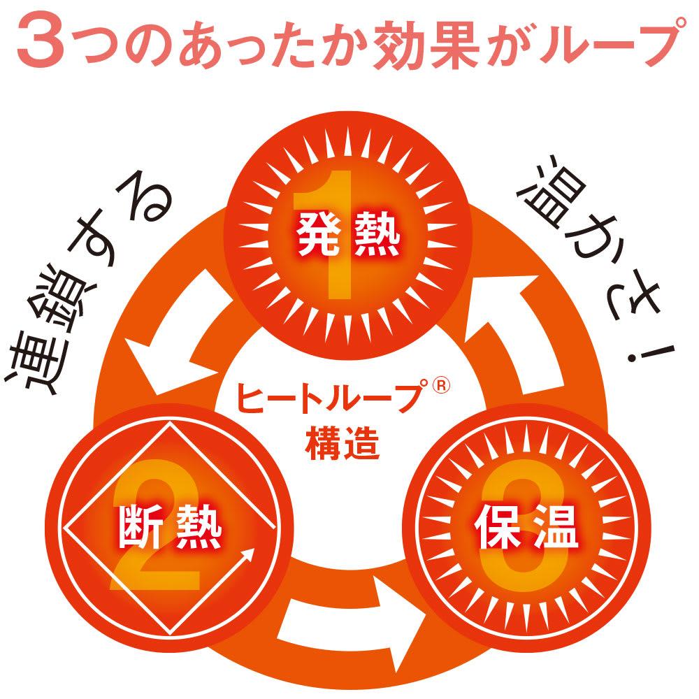 ヒートループDX(R)こたつ掛け布団 ヒートループDX(R)は、(1)発熱(2)断熱(3)保温の3つのあったか効果がループすることで、こたつ本来の温かさを高め、しっかりキープします。