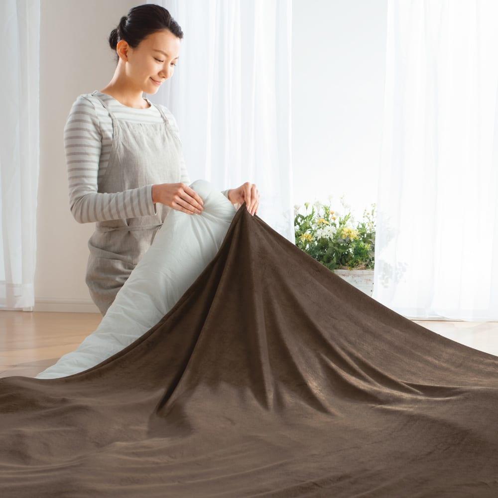 はっ水ふわとろタッチ こたつシリーズ こたつ掛け布団カバー (イ)ブラウン お手持ちのこたつ布団がはっ水機能付きのふわとろに変身。洗濯機で手軽に洗えます。