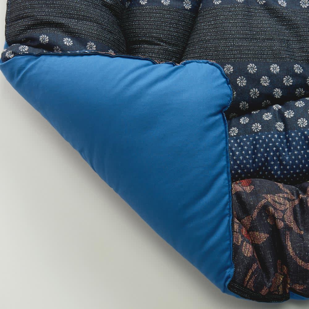 日本製ふっくら正方形こたつ掛け敷きセット (ア)ブルー こたつ掛け布団