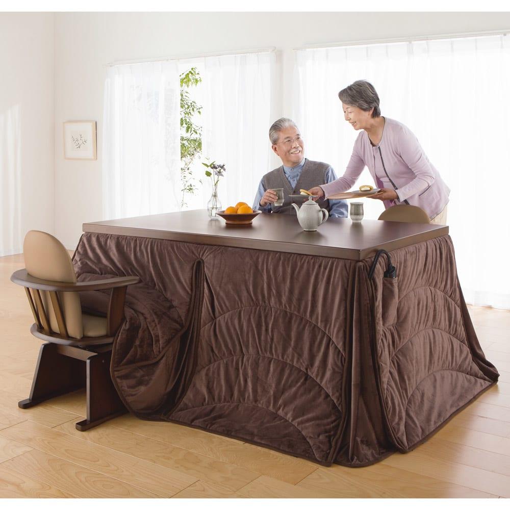 【長方形・大】幅150cm奥行90cm ダイニングこたつテーブル【高さ調節できます】 テーブル高さ70cm
