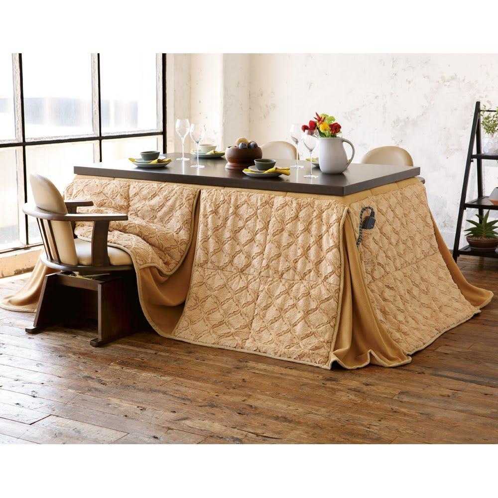 【長方形・大】幅150cm奥行90cm ダイニングこたつテーブル【高さ調節できます】 コーディネート例