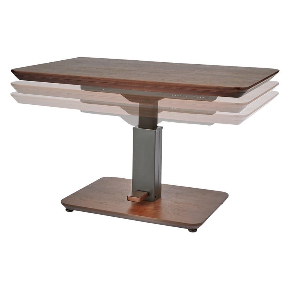 昇降式ダイニングこたつテーブル 120×80cm 高さ59cm~71cm無段階調整。