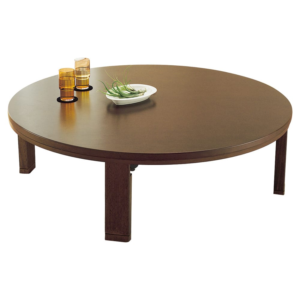 【だ円形】105×75cm ナラ天然木折れ脚まぁるいこたつ オーバル形 (ウ)ブラウン色見本 ※写真は丸型(径120cm)です。
