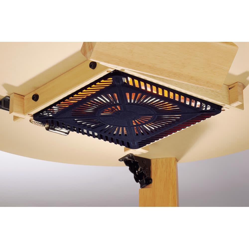 【だ円形】105×75cm ナラ天然木折れ脚まぁるいこたつ オーバル形 薄型ヒーターは厚み5~6cm。手元コントローラーで操作可能です。