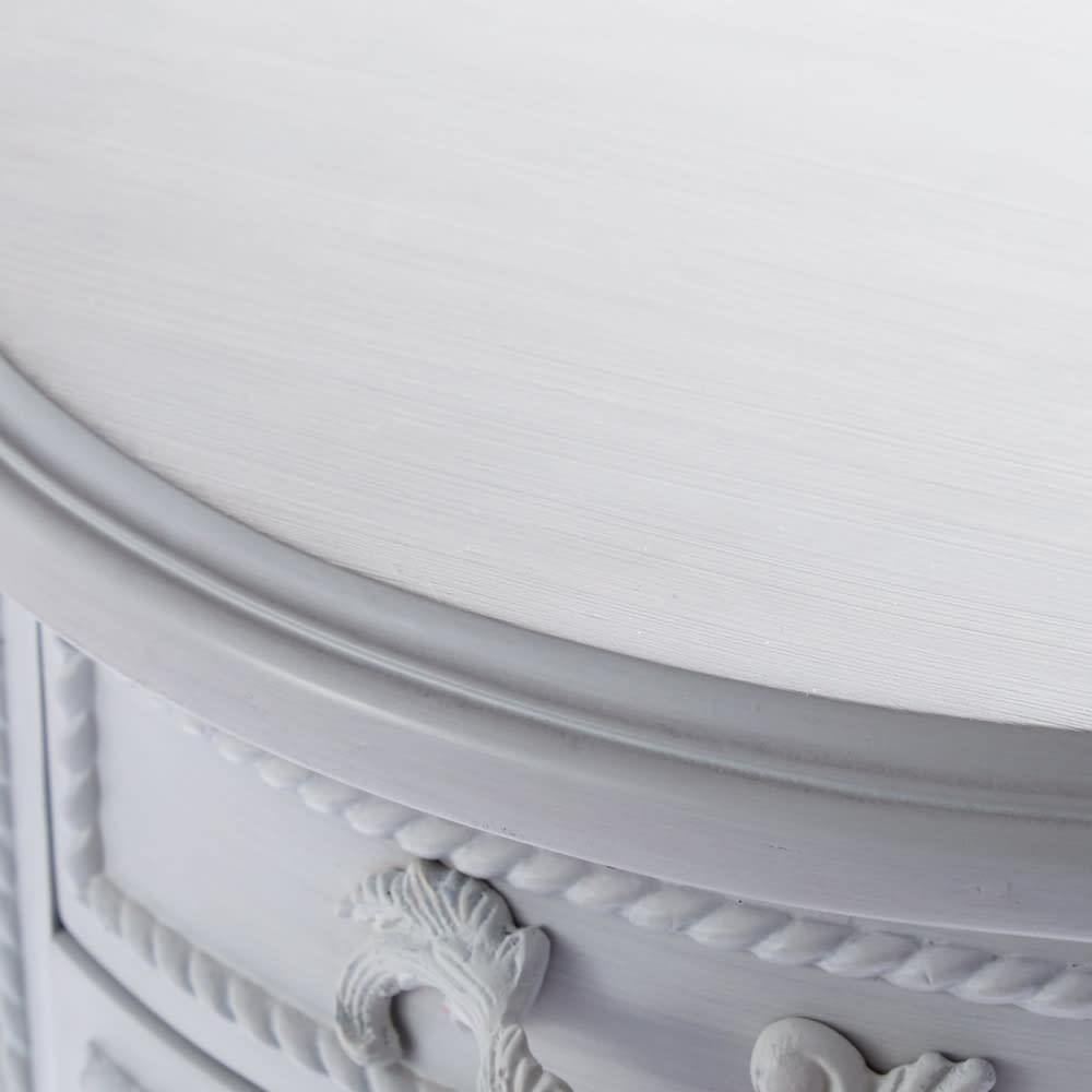 シャビーシック フレンチ リビング収納家具シリーズ デスク 丸みを帯びたデザインが、やわらかな女性らしさを演出。