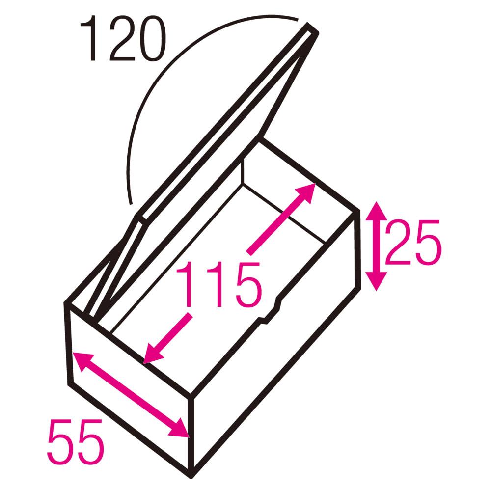 跳ね上げ式ユニット畳 お得なセット ヘリ有りミニ3畳セット 高さ33cm 寸法図(単位:cm) ※赤文字は内寸、黒文字は外寸表示です。 収納部は仕切りなしでたっぷり入れられ、ゴルフバッグのような長尺物も収まります。