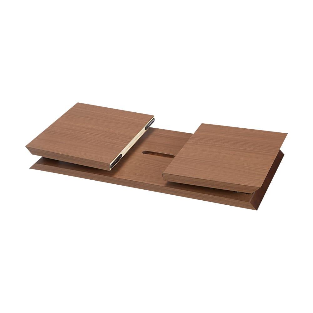折りたたみできるスマートスタイルテーブル 89×44cm (イ)ダークブラウン(木目) 折りたたみ時
