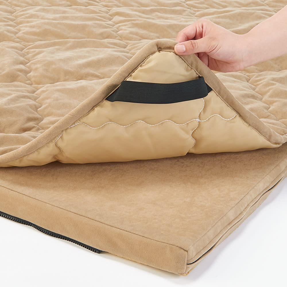 包まれてくつろぐふかふかのごろ寝ソファ ごろ寝ソファ 小 敷きパッドは取り外して手洗いでき清潔。マット裏面はズレにくい加工。