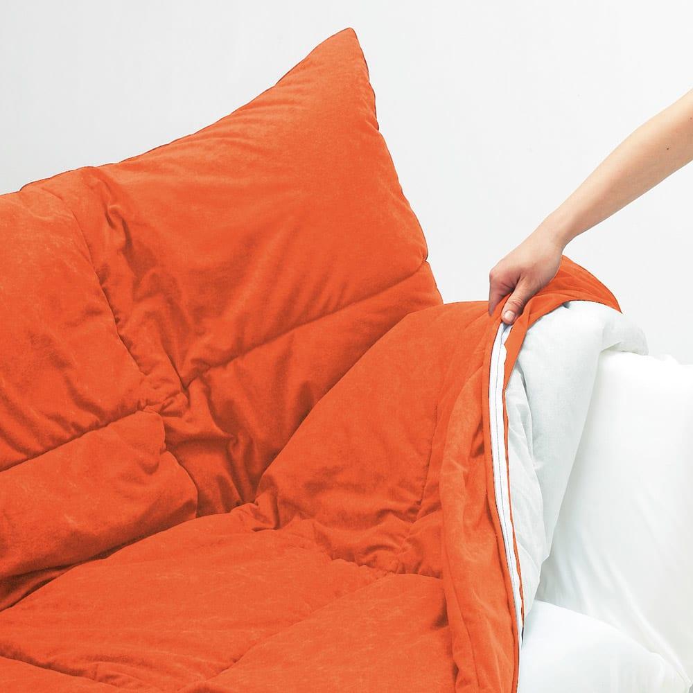 お好みスタイルが自在に!洗えるカバーリング マルチリクライニングソファベッド ロータイプ カバーは取り外し可能。ドライクリーニングできます。(エ)オレンジ