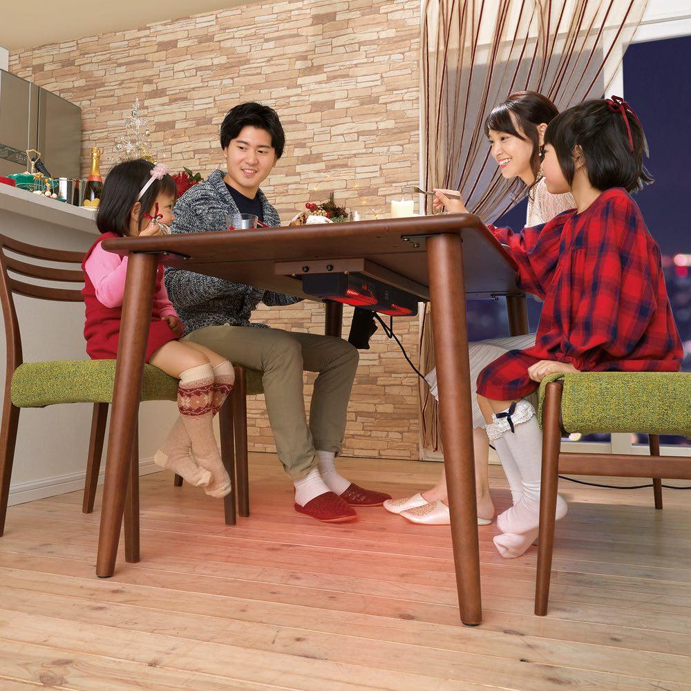 布団のいらないこたつダイニング こたつテーブル・幅140cm 下から見ると…、布団がなくてもすぐにあったか。