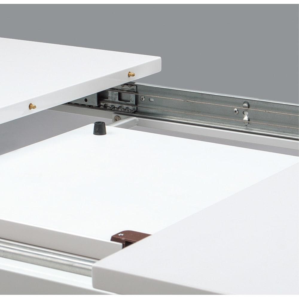 簡単伸長!スマート伸長式テーブル 幅140・180cm スライドレール付きなので伸長操作がなめらか、スムーズにできます。