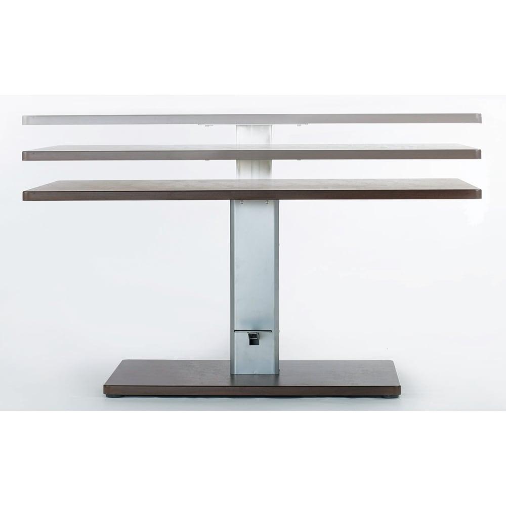リビングダイニング兼用 昇降式テーブル 幅120奥行80 天板の高さは55 ~75cmに無段階調節できます。