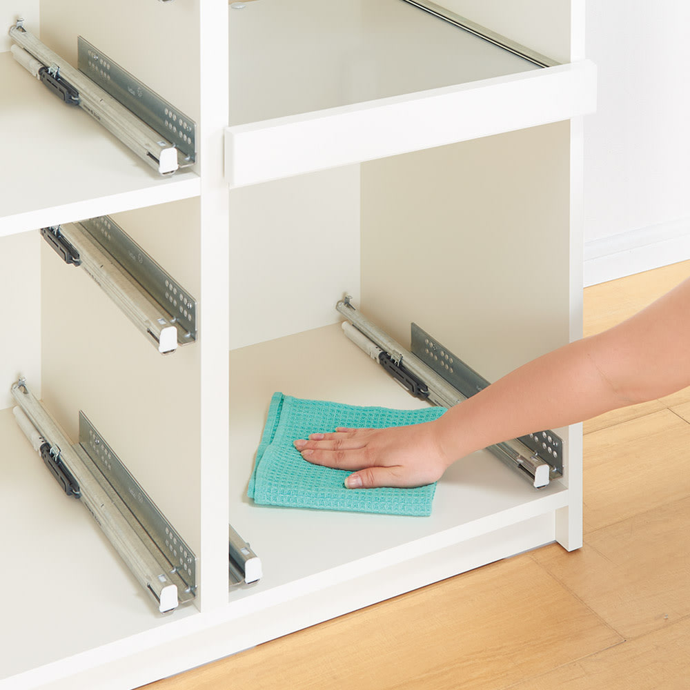 サイズが豊富な高機能シリーズ 食器棚引き出し 幅60奥行45高さ198cm/パモウナ VZ-S600K 引き出しも本体も、内部まで化粧仕上げ。汚れてもお掃除が簡単で、いつも清潔。