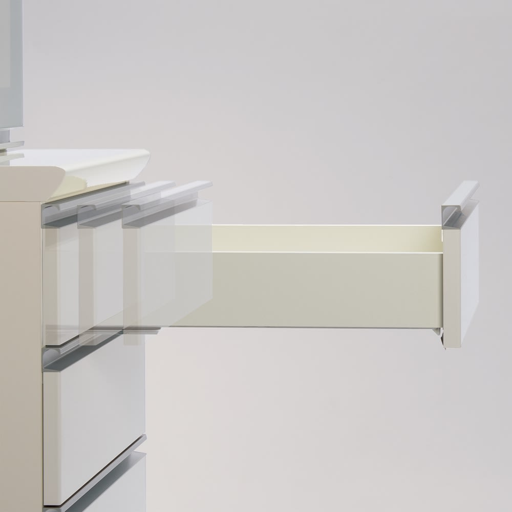 サイズが豊富な高機能シリーズ カウンター引き出し 幅80奥行50高さ84.8cm 引き出しは、全段ゆっくり閉まるサイレントシステムを採用。