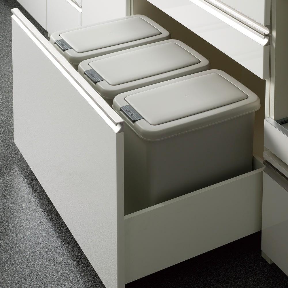 サイズが豊富な高機能シリーズ カウンター引き出し 幅80奥行50高さ84.8cm 深引き出しタイプには、WEB限定別売りダストボックスが納められます。