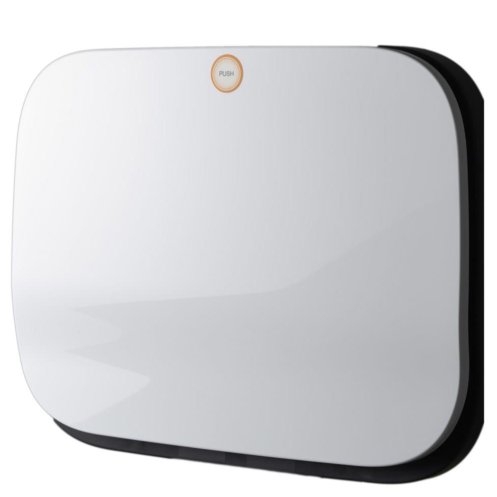 光沢がおしゃれなキャスター付きダストボックス SMOOTH (ア)ホワイト 清潔感がありキッチンが明るくなります。