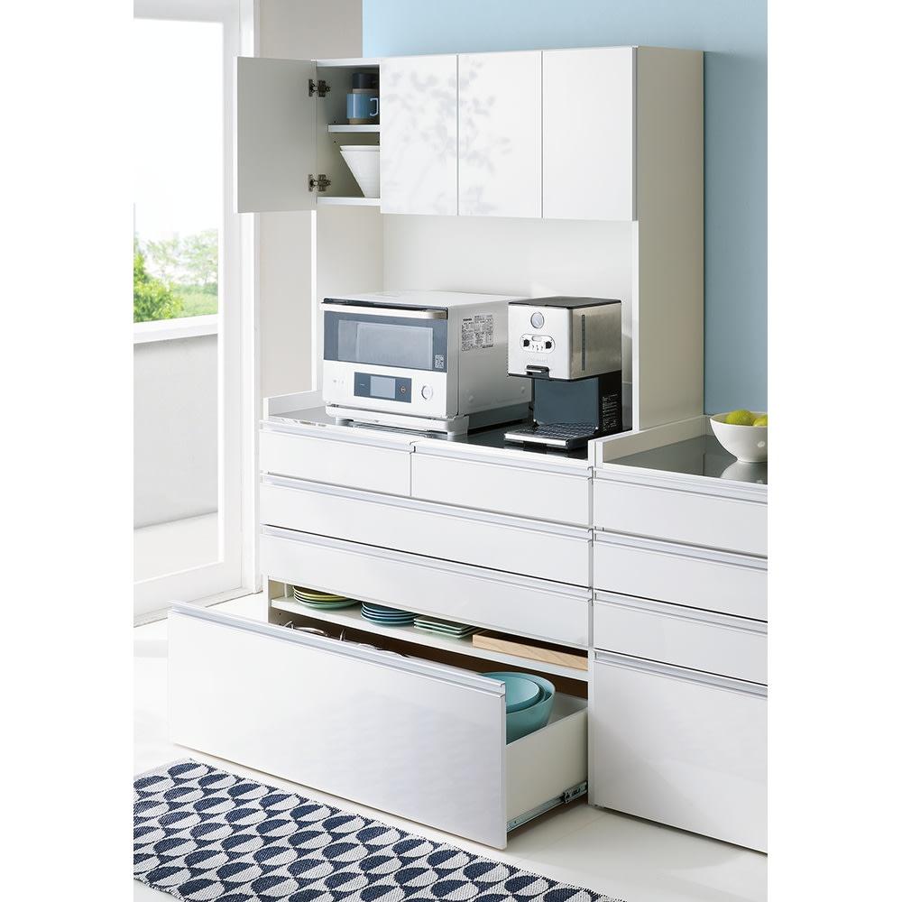 大型レンジ対応ステンレスクリーンキッチン キッチンボード 幅119cm (ア)ホワイト