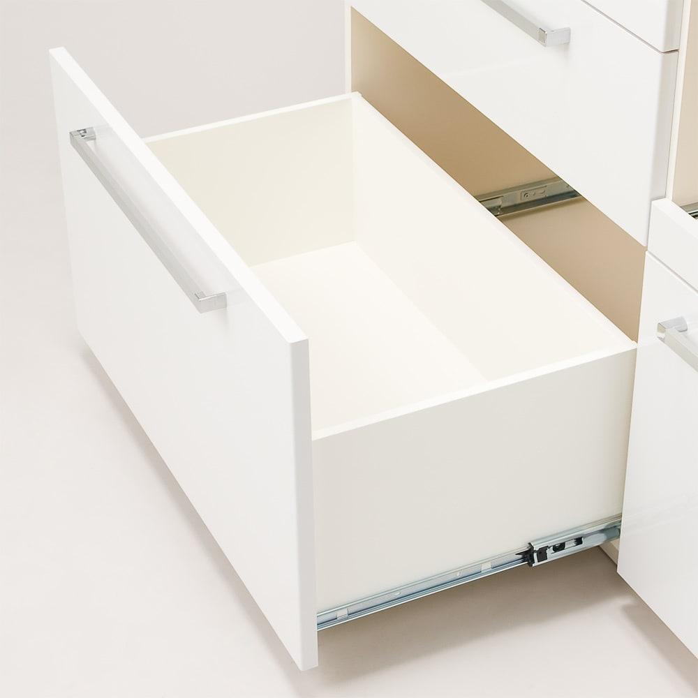 奥行40cm薄型クリーンボディキッチンボードシリーズ レンジボード幅104.5cm [パモウナYC-S1050R] 深引き出しはフルスライドレール仕様で奥の収納物も見やすく、取り出しやすい仕様。お鍋の収納、食品ストック収納に便利です。