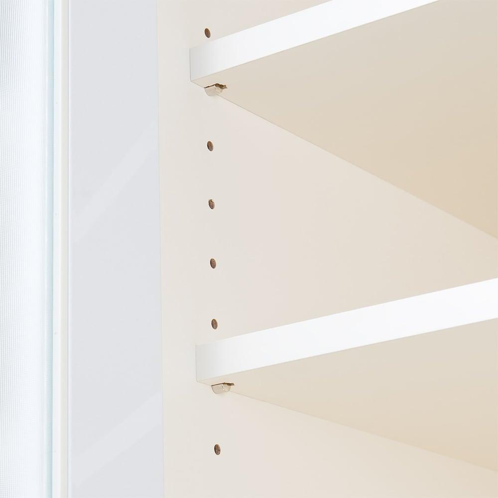 奥行40cm薄型クリーンボディキッチンボードシリーズ 省スペース奥行き食器棚 カップボード幅60cm [パモウナYC-S600K] 可動棚板は調理家電や調理器具、お皿の収納などいろいろなキッチン収納に対応します。