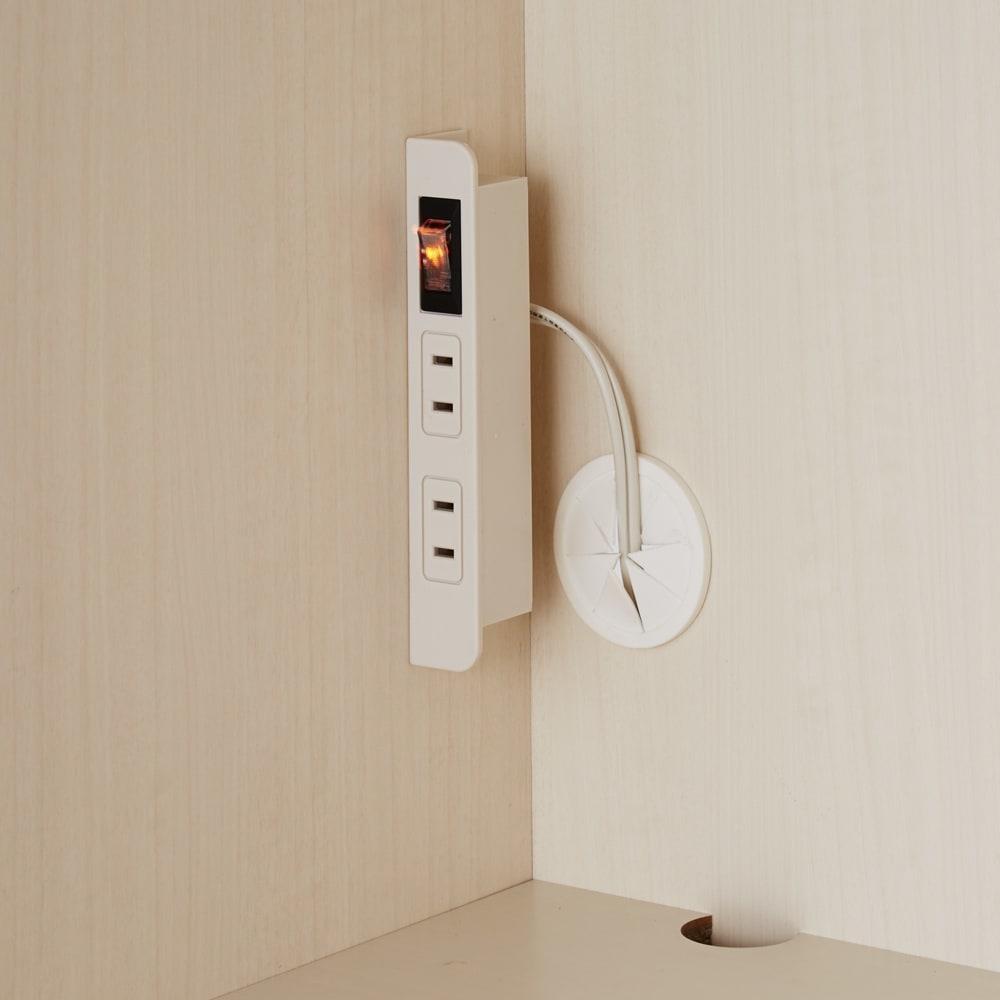 家電もストックもまとめて収納!天井ぴったりキッチンシリーズ レンジボード 幅60cm奥行50cm 中段と下段には便利な2口コンセント付き。