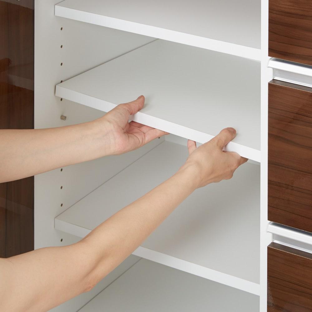 幅オーダー光沢カウンターシリーズ 扉引き出しタイプ ロータイプ(高さ87cm) 幅80~160cm(幅1cm単位オーダー) 棚板は3cm間隔で高さ調節が可能です。