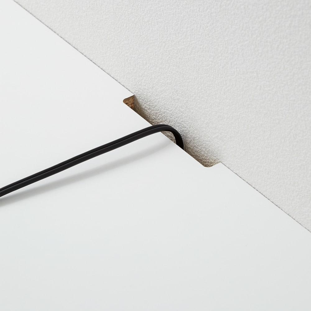 幅オーダー光沢カウンターシリーズ 扉引き出しタイプ ハイタイプ(高さ102cm) 幅80~160cm(幅1cm単位オーダー) 天板は、壁にぴったり設置してもコードを通せる仕様です。