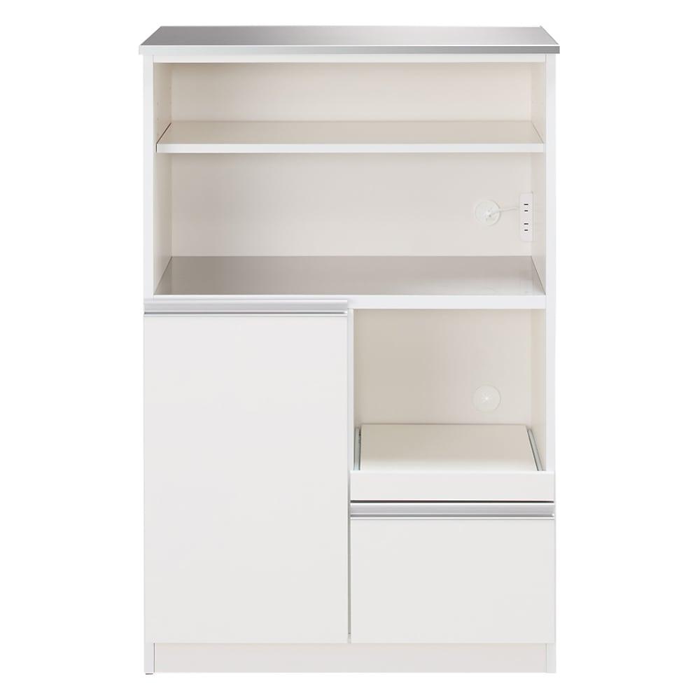 家具 収納 キッチン収納 食器棚 レンジ台 レンジラック キッチンラック ステンレス天板 コンパクトレンジボード 幅80奥行40.5cm 530843