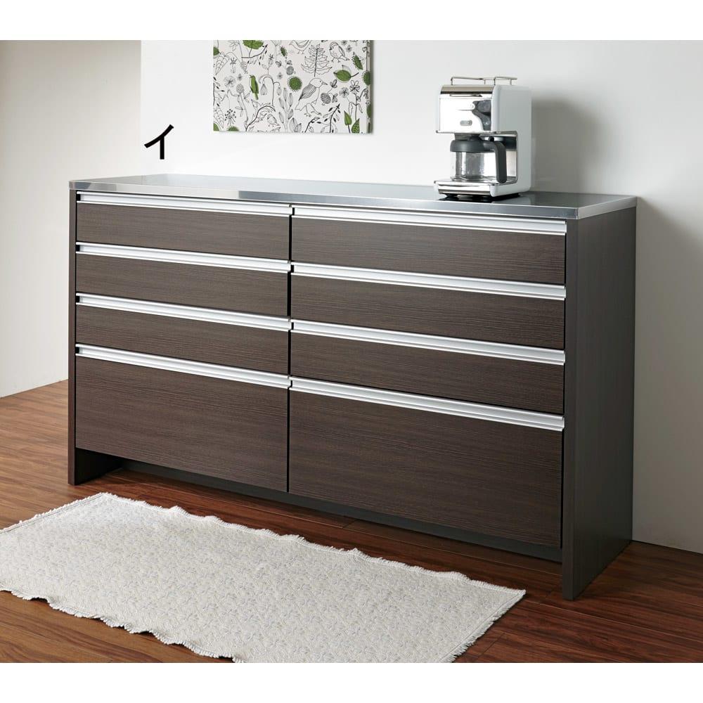 ステンレストップ間仕切りカウンター 幅90cm 壁付けすれば、収納兼サブの調理台に。調理家電の置き場所も生まれます。 ※写真は幅150cmタイプです。