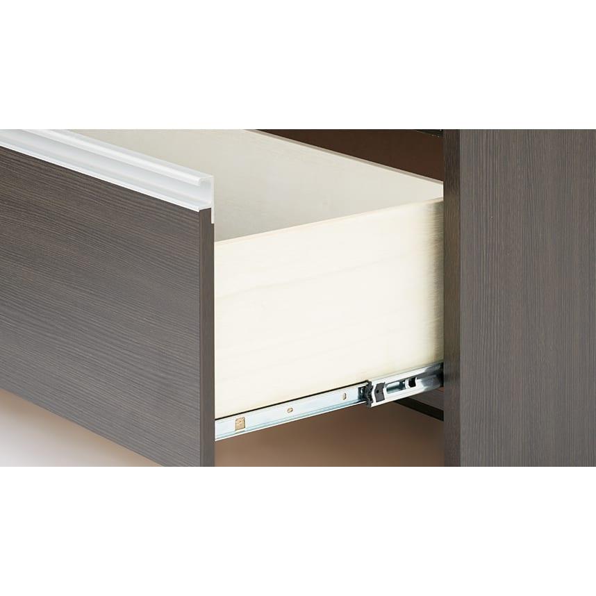 ステンレストップ間仕切りカウンター 幅150cm 引き出しは奥までスムーズに開閉できるストッパー付きスライドレールを採用。