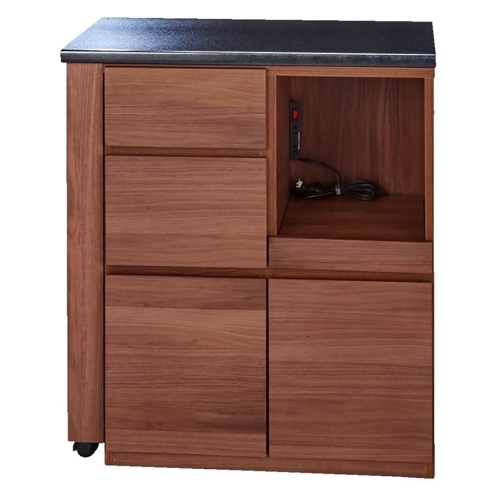 天然木伸長式キッチンカウンター 幅80~130cm (イ)ダークブラウン 最小時(幅80cm)