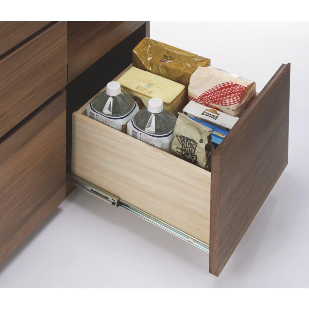 天然木伸長式キッチンカウンター 幅80~130cm 有効高さ21cm(側板高さ23cm、幅26cm奥行32cmの引き出しは、フルスライドレールで開閉もラクラク。