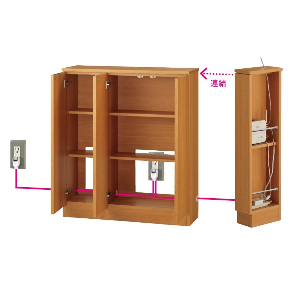 配線すっきりカウンター下収納庫 3枚扉 《幅90cm・奥行35cm・高さ77~103cm/高さ1cm単位オーダー》 (オ)ナチュラルオーク 配線すっきりのヒミツ コード穴が左右に開いているので、並べて使っても配線が可能。コード類を露出させないので、ホコリもたまりにくく、すっきりとした空間に。