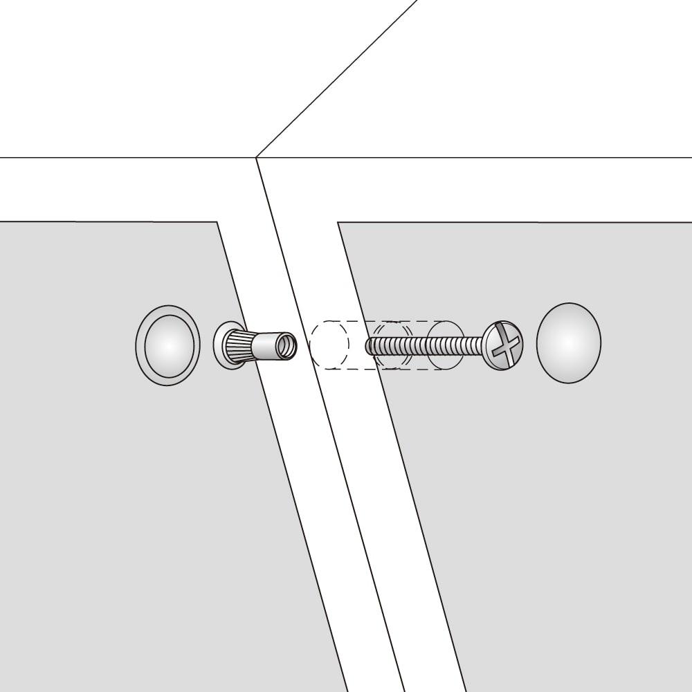 配線すっきりカウンター下収納庫 4枚扉 《幅120cm・奥行20cm・高さ77~103cm/高さ1cm単位オーダー》 すき間なく連結。本体同士の横連結、本体と上置きの連結は、ジョイントネジで固定。