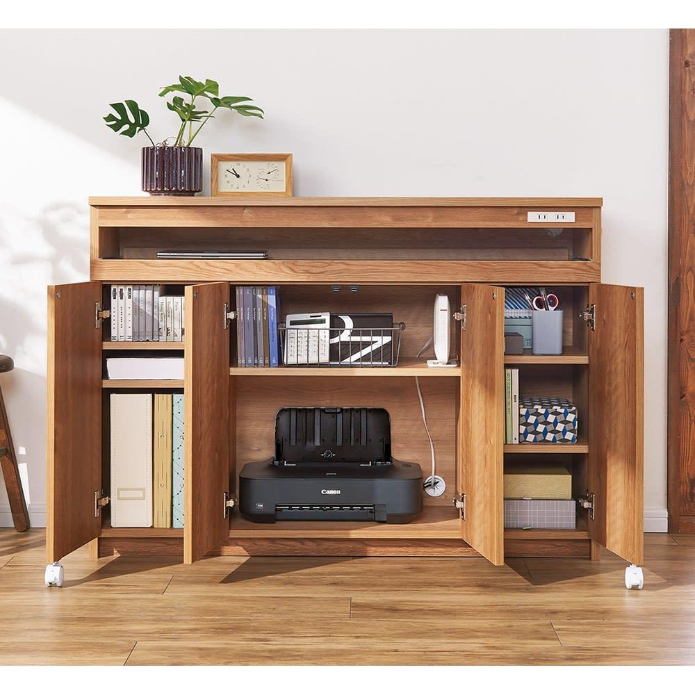 スライドテーブル付きカウンター下収納庫 幅120cm (イ)ブラウン プリンターからルーター、たっぷりの資料まで整理収納。