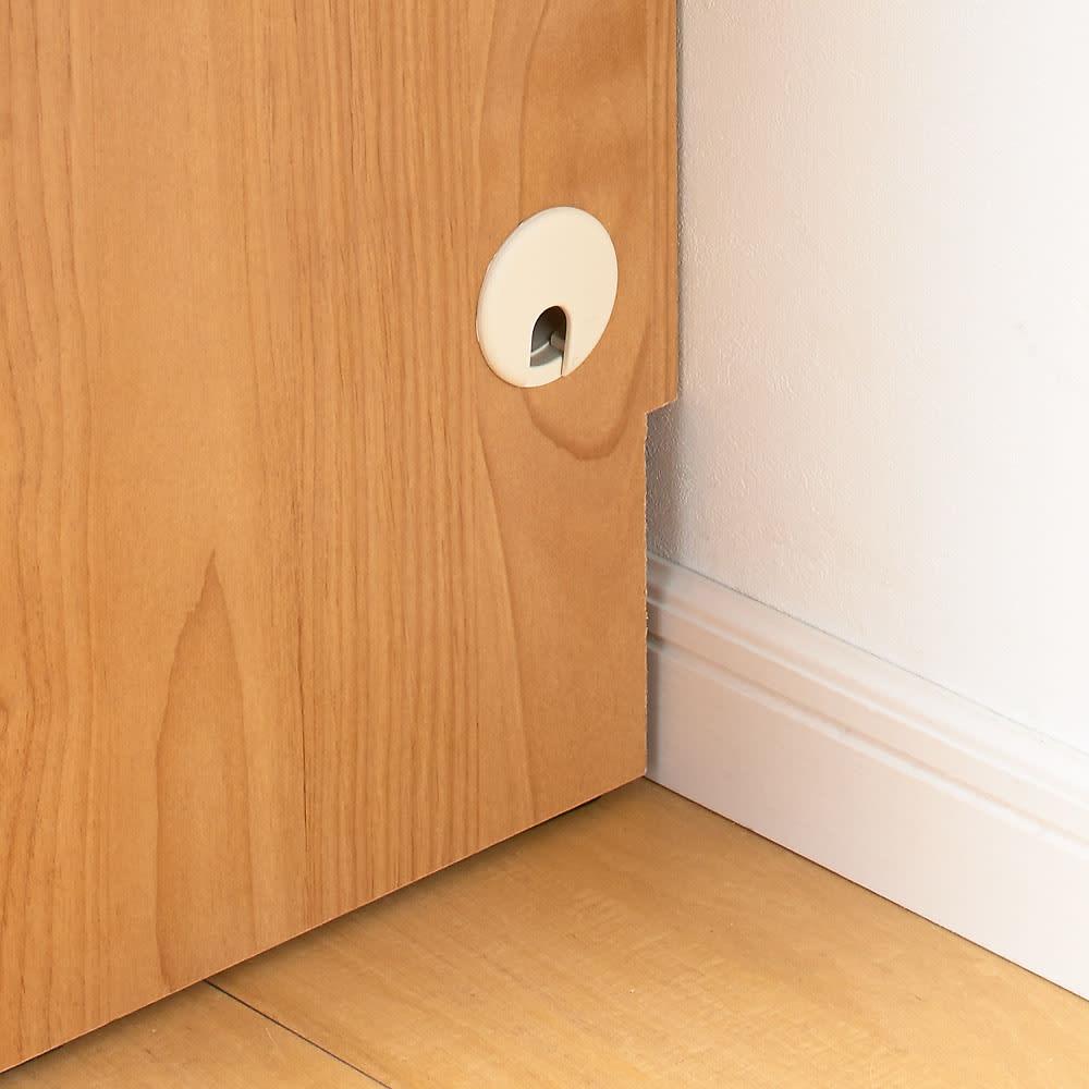 アルダーカウンター下収納庫(奥行29.5cm) 幅120高さ87cm コード穴は側面の両側面にあります。  横並びに並べる場合は取り外して設置してください。