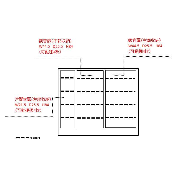 シンプルカウンター下収納庫(奥行30高さ97cm) 5枚扉タイプ 幅121.5cm 内寸図(単位:cm)