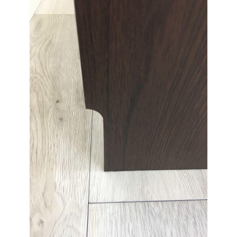 高さ60cm!カウンターダイニング下に納まる収納庫 引き出し 幅44奥行35cm 背面は9cm×1cmの幅木カット付きなので壁にもぴったり付けられます。