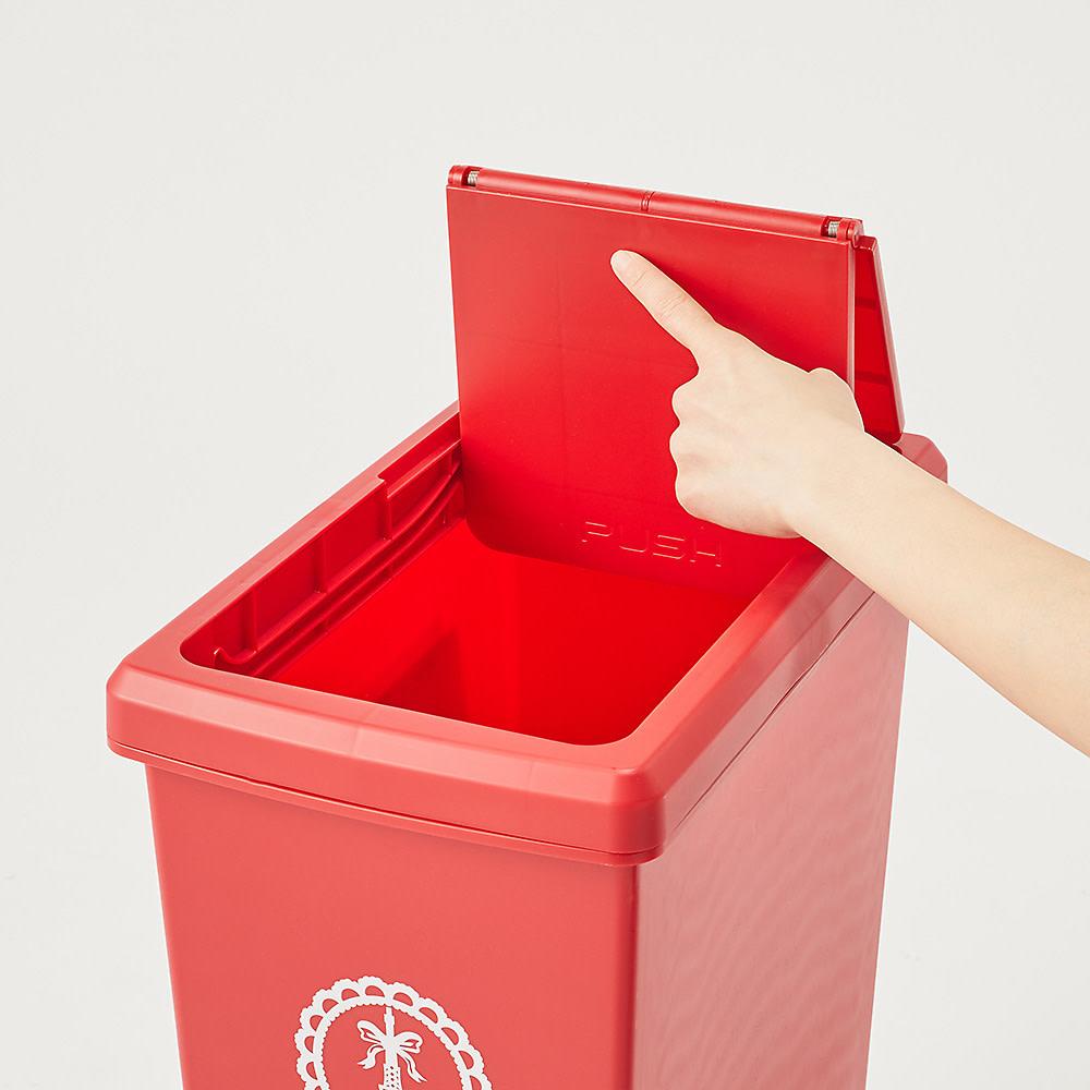 フタスライド式ゴミ箱 片手で簡単に開閉できるワンタッチ式。