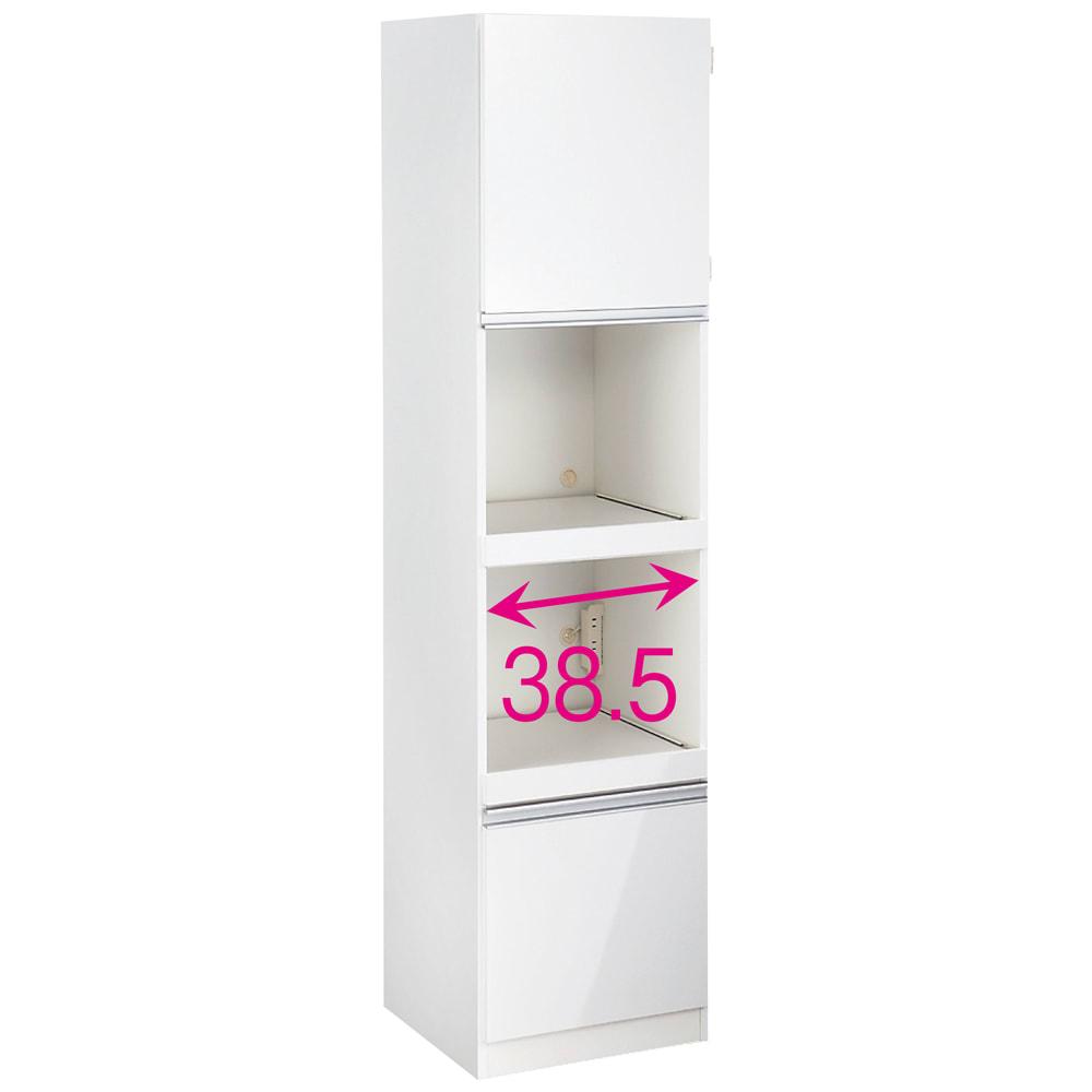 組立不要 幅と高さが選べる家電収納庫 スリムハイタイプ 幅45cm 家電収納部の内寸(上下共通):幅38.5高さ35奥行40cm。(コンセント含まず)