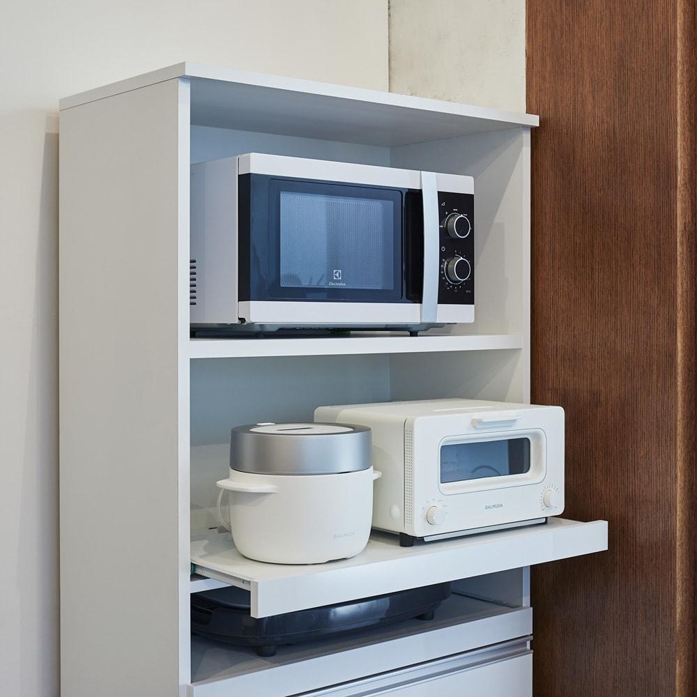 ふた開閉ゴミ箱付き家電収納庫 3分別 ハイタイプ 幅76cm高さ180cm奥行42cm 熱や蒸気が出る家電も使いやすく収納できる便利なスライドテーブル。