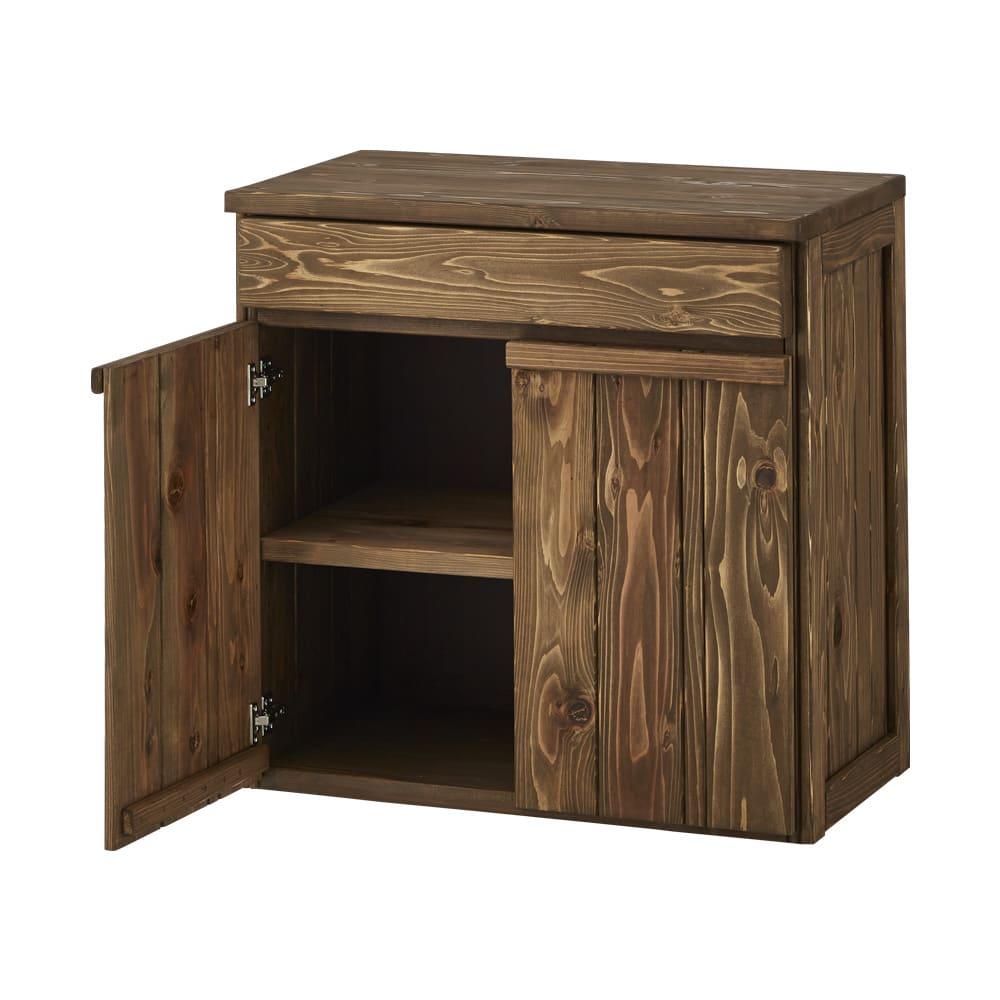 国産杉の頑丈キッチンラックシリーズ 収納庫 幅72cm (イ)ダークブラウンはヴィンテージ調で高級感があります。