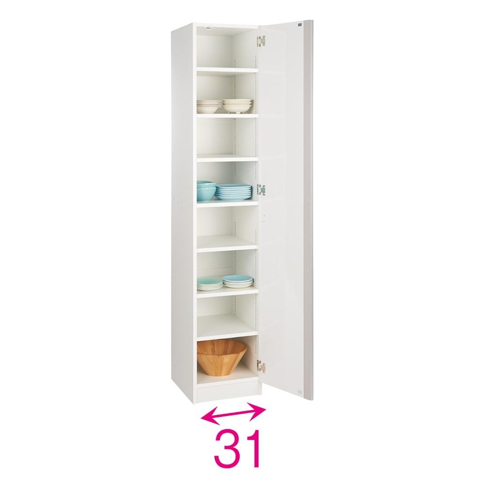 食器に合わせて選べる食器棚 幅35cm奥行42cm高さ180cm 扉は左右どちら開きにも設定可能。収納部の内寸奥行38cm。※赤文字は内寸(単位:約cm)