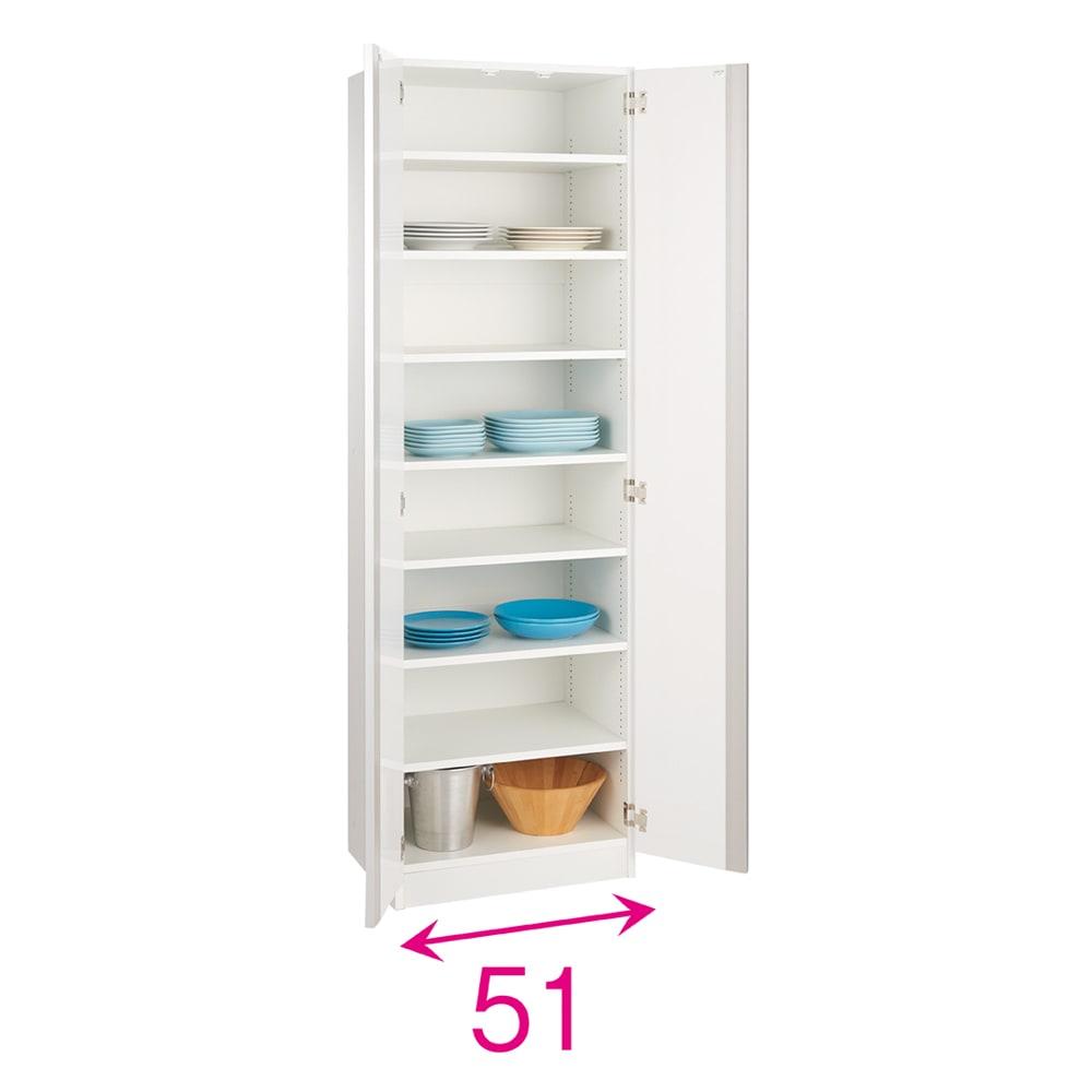 食器に合わせて選べる食器棚 幅55cm奥行42cm高さ180cm 扉は両開きです。収納部の内寸奥行38cm。※赤文字は内寸(単位:約cm)
