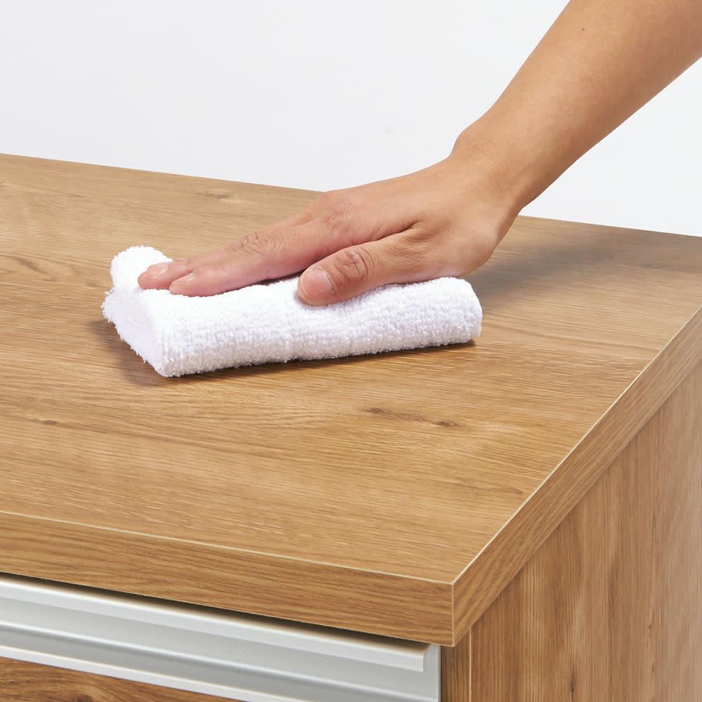間仕切りキッチンカウンター カウンターデスク 幅90cm 天板と前面は傷や汚れに強い素材。