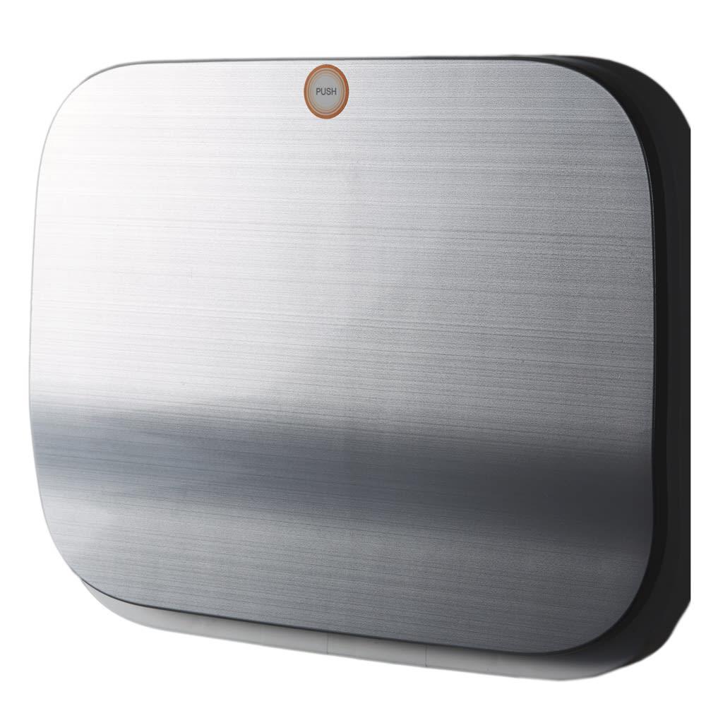 省スペース!高機能インテリアタワーダストボックス 3段・高さ97cm (ウ)システムキッチンにもなじむステンレス調のシルバー