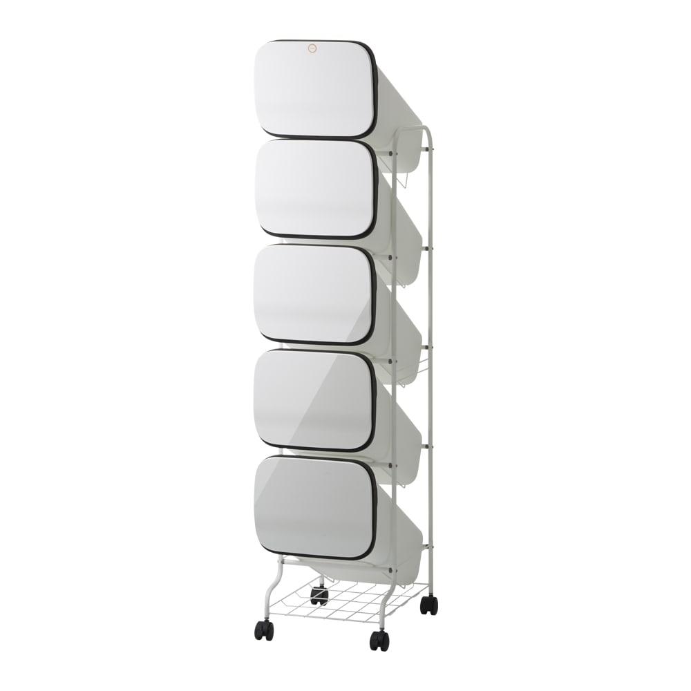 省スペース!高機能インテリアタワーダストボックス 3段・高さ97cm (ア)ホワイト ※写真は5段タイプです。